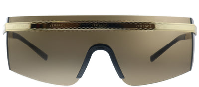 Versace VE 2208 10023G Shield Metal Gold Sunglasses with Brown Lens