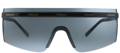 Versace VE 2208 100987 Shield Metal Black Sunglasses with Grey Lens