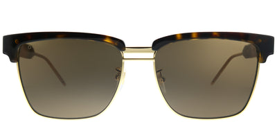 Gucci GG 0603S 003 Square Metal Tortoise/ Havana Sunglasses with Brown Lens