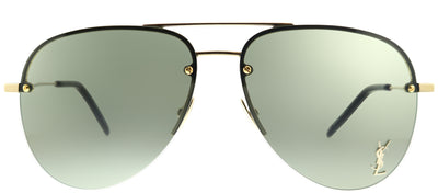 Saint Laurent SL Classic11M 003 Aviator Metal Gold Sunglasses with Green Lens