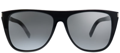 Saint Laurent SL 1/F 002 Square Plastic Black Sunglasses with Silver Mirror Lens