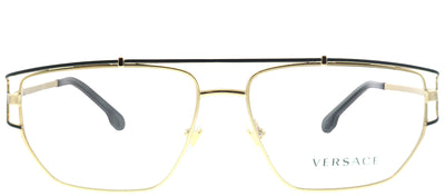 Versace VE 1257 1436 Geometric Metal Gold Eyeglasses with Demo Lens