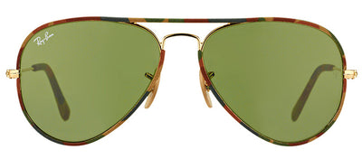 Ray-Ban Camouflage RB 3025JM 168/4E Aviator Metal Brown Sunglasses with Green Lens