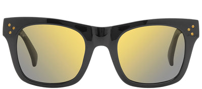 Privé Revaux Crystal Classic Square Plastic Black Sunglasses with Gold Flash Polarized Lens