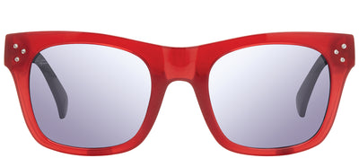 Privé Revaux Crystal Classic Square Plastic Burgundy/Red Sunglasses with Silver Flash Polarized Lens