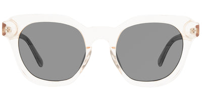 Privé Revaux The Autumn Round Plastic Clear Sunglasses with Grey Polarized Lens