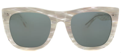 Super 7F8 Gals Cat-Eye Plastic Beige Sunglasses with Green Lens