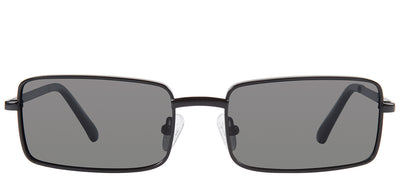 Privé Revaux The Matrix Rectangle Metal Black Sunglasses with Grey Polarized Lens