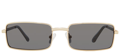 Privé Revaux The Matrix Rectangle Metal Gold Sunglasses with Grey Polarized Lens