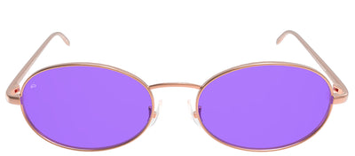 Privé Revaux The Candy Oval Metal Gold Sunglasses with Purple Polarized Lens