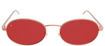 Privé Revaux The Candy Oval Metal Gold Sunglasses with Red Polarized Lens