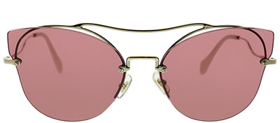 Miu Miu MU 52SS ZVN0A0 Square Metal Gold Sunglasses with Brown Lens