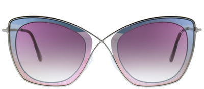 Tom Ford TF 605 77T Square Metal Ruthenium/ Gunmetal Sunglasses with Pink Gradient Lens