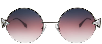 Fendi FF 0243 TJV FF Round Metal Silver Sunglasses with Purple Gradient Lens