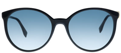 Fendi FF 0288 807 08 Round Plastic Black Sunglasses with Blue Gradient Lens