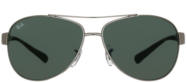 Ray-Ban RB 3386 004/71 Aviator Metal Ruthenium/ Gunmetal Sunglasses with Green Lens