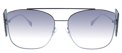 Fendi FF 0380/G/S 6LB Square Metal Silver Sunglasses with Grey Mirror Lens