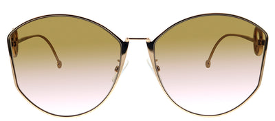 Fendi FF 0355/F/S DDB Cat-Eye Metal Gold Sunglasses with Brown Gradient Lens