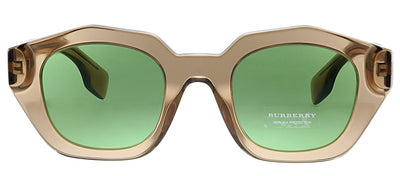 Burberry BE 4288 3504/2 Geometric Plastic Brown Sunglasses with Green Lens