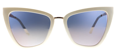 Quay Reina Cat-Eye Plastic Ivory/ White Sunglasses with Pink Mirror Lens