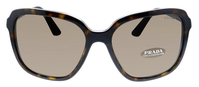 Prada PR 10VS 2AU8C1 Square Plastic Havana Sunglasses with Brown Lens