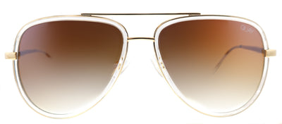 Quay Allin Aviator Plastic Clear Sunglasses with Brown Gradient Lens