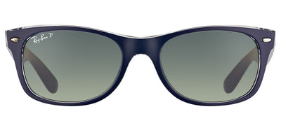 Ray-Ban RB 2132 6053M3 Wayfarer Plastic Blue Sunglasses with Grey Polarized Lens