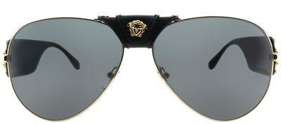 Versace VE 2150Q 100287 Baroque Aviator Metal Gold Sunglasses with Grey Lens