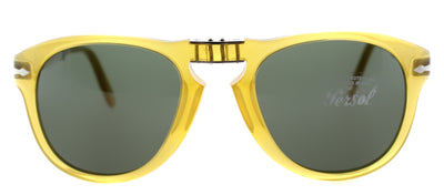 Persol PO 714 204/31 Round Plastic Yellow Sunglasses with Green Lens