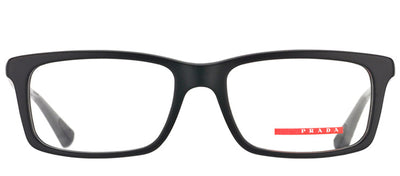 Prada Linea Rossa PS 02CV 1AB1O1 Rectangle Metal Black Eyeglasses with Demo Lens