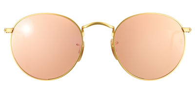 Ray-Ban RB 3447 112/Z2 Round Metal Gold Sunglasses with Pink Mirror Lens
