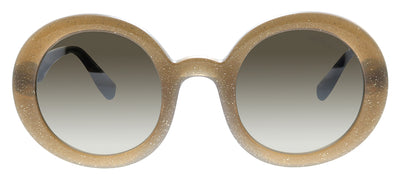 Miu Miu MU 06US 1294P0 Round Plastic Brown Sunglasses with Brown Mirror Lens