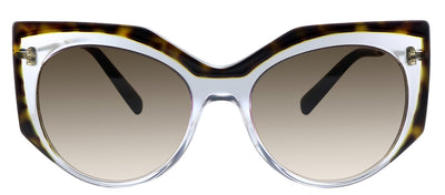 Valentino VA 4033 508113 Geometric Plastic Havana Sunglasses with Brown Gradient Lens