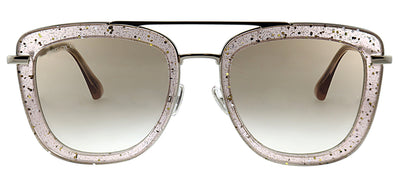 Jimmy Choo JC Glossy FWM HA Square Metal Pink Sunglasses with Brown Gradient Lens