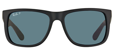 Ray-Ban Justin RB 4165 622/2V Square Rubber Black Sunglasses with Blue Polarized Lens