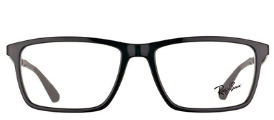 Ray-Ban RX 7056 2000 Rectangle Plastic Black Eyeglasses with Demo Lens