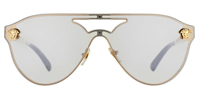Versace VE 2161 10026G Aviator Metal Gold Sunglasses with Light Silver Mirror Lens