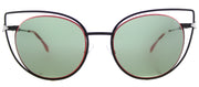 Fendi FF 0176 003 Cat-Eye Metal Black Sunglasses with Green Lens