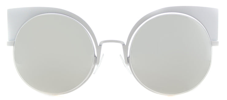 Fendi FF 0177 DMV Cat-Eye Metal Ivory/ White Sunglasses with Silver Mirror Lens