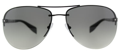 Prada Linea Rossa PS 56MS 5AV3M1 Aviator Metal Ruthenium/ Gunmetal Sunglasses with Grey Gradient Lens