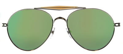 Givenchy GV 7012 010 Aviator Metal Ruthenium/ Gunmetal Sunglasses with Green Mirror Lens