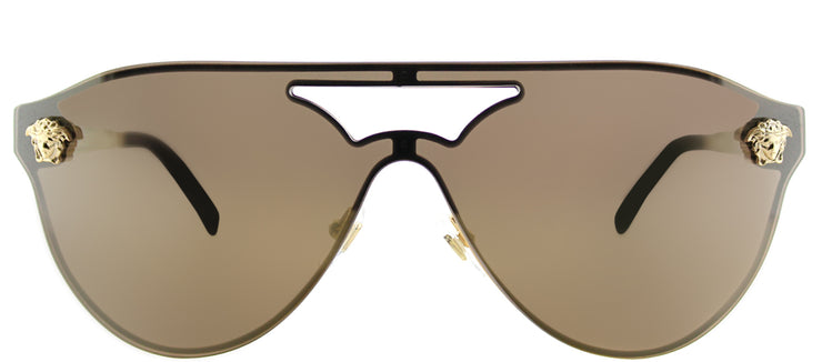 Versace VE 2161 1002F9 Aviator Metal Gold Sunglasses with Gold Mirror Lens