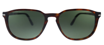 Persol PO 3019S 24/31 Square Plastic Havana Sunglasses with Green Lens