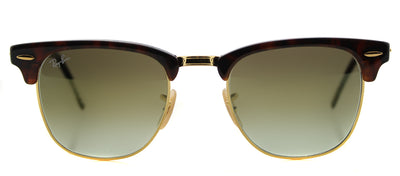 Ray-Ban RB 3016 990/9J Clubmaster Plastic Tortoise/ Havana Sunglasses with Green Flash Gradient Lens