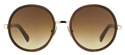 Jimmy Choo JC Andie J7G Round Metal Gold Sunglasses with Brown Gradient Lens