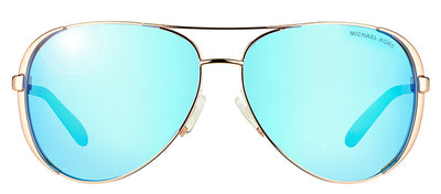 Michael Kors Chelsea MK 5004 100325 Aviator Metal Gold Sunglasses with Blue Mirror Lens