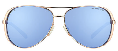 Michael Kors Chelsea MK 5004 100322 Aviator Metal Gold Sunglasses with Purple Mirrored Polarized Lens