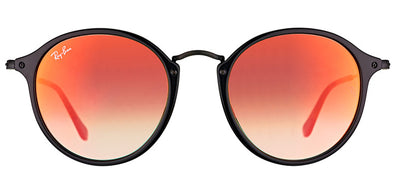 Ray-Ban RB 2447 901/4W Round Plastic Black Sunglasses with Orange Flash Gradient Lens