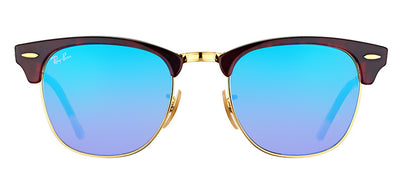 Ray-Ban RB 3016 990/7Q Clubmaster Plastic Tortoise/ Havana Sunglasses with Blue Flash Gradient Lens