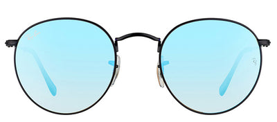 Ray-Ban RB 3447 002/4O Round Metal Black Sunglasses with Blue Flash Gradient Lens